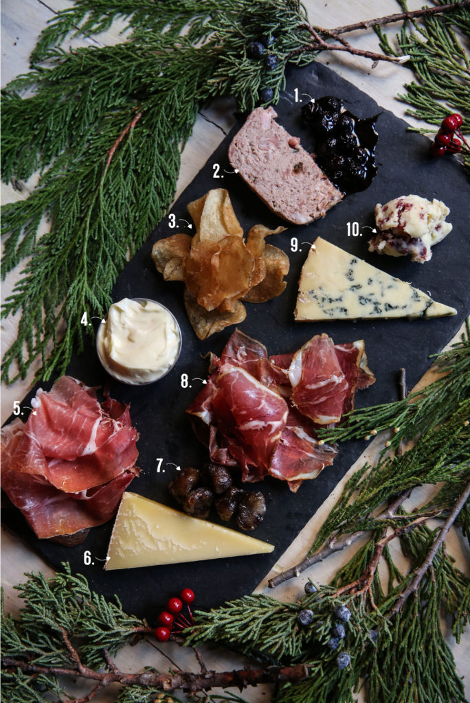 New Year's Eve Holiday Meat and Cheese Board Spread Plate