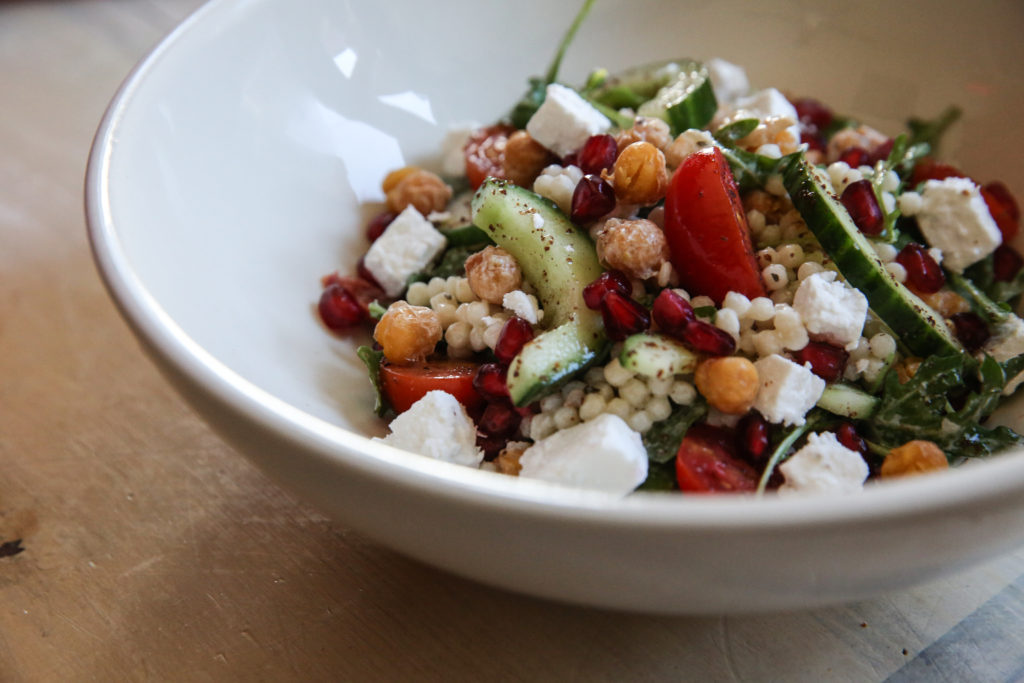 Mediterranean chickpea couscous salad yogurt dressing recipe