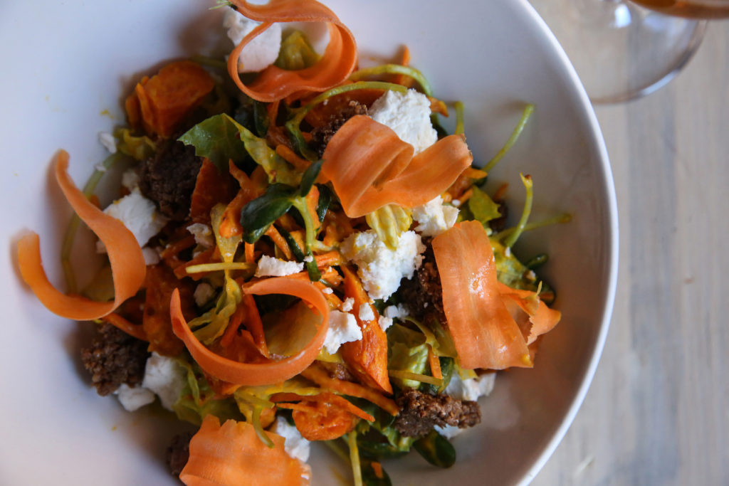 roasted carrot sprouts goat cheese salad recipe