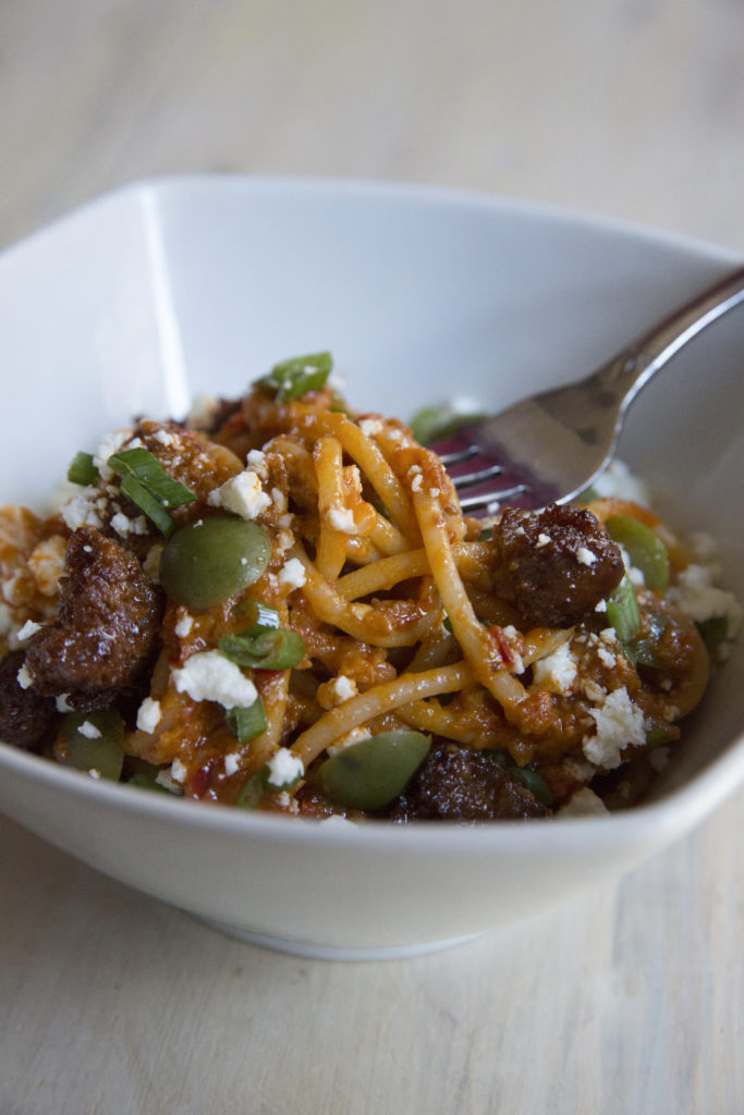 bucatini pasta with chorizo and feta cheese recipe